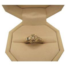 18K Filigree Diamond Ring