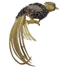 Dramatic 18K Sapphire and Diamond Bird Brooch