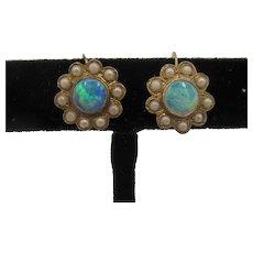 9K Opal Faux Pearl Earrings