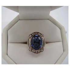 18K Synthetic Sapphire and Diamond Ring