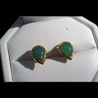 14K Translucent Jadeite Jade Earrings