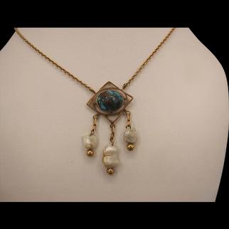 9K Turquoise and Pearl Murrle Bennett Pendant