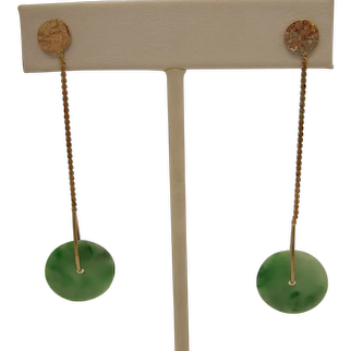 14K Jadeite Jade Dangle Earrings