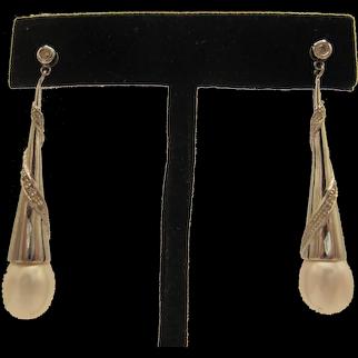 14K Diamond and Pearl Dangle Earrings
