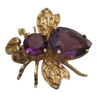 Sweet 14K Amethyst Fly Brooch