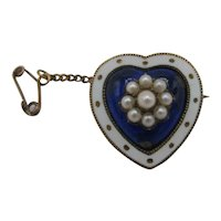Sweet 15K Enamel Heart Brooch with Pearls