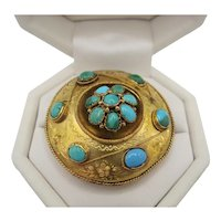 """Victorian Turquoise """"Target"""" Brooch"""