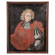 Antique Early 19th Century Oil Painting Portrait of a Royal Child in a Red Cape
