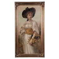 Antique 19th Century English Oil Painting Portrait of a Young Woman