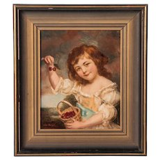 Antique 19th Century Original Oil Painting, Young Girl Eating Cherries