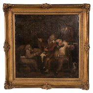 Antique 19th Century Original French Oil Painting of Men Drinking in a Tavern