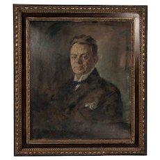 Original Antique Oil on Canvas Painting Portrait of a Gentleman, circa 1900's