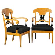 Pair of Antique Biedermeier Birch Arm Chairs From Sweden