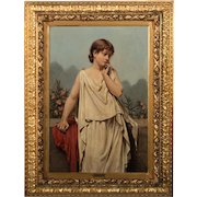 Original Antique Danish Oil on Canvas Painting, Portrait of a Young Italian Woman, Signed W. Sichelkow