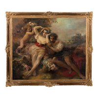 Large Original Austrian Oil Painting of Young Couple and Cherub, Oskar Larsen dated 1925