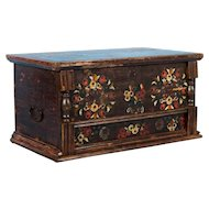 19th Century Hungarian Trunk with Flowers and Original Brown, Red and Yellow Paint