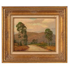 Small Signed Original Landscape Oil Painting on Board, Texas Artist Dwight C. Holmes