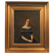 Small Original 19th Century Antique Oil Painting, Portrait of a Young Danish Woman, circa 1840-1860