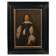 Original 19th Century Antique Oil Painting on Wood Panel, Portrait of a Dutch Gentleman, circa 1840