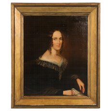 Original Early 19th Century American Antique Oil Painting, Portrait of a Woman, circa 1800-1820
