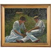 Oil on Canvas Painting of a Couple Playing Checkers on Lawn, circa 1915