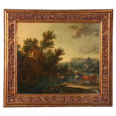 Original Oil Painting, Signed Flemish Landscape of River Crossing with Cattle