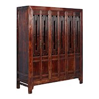 Antique 19th Century 6 Door Red Lacquered Cabinet from Shanxi China