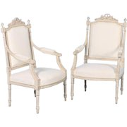 Pair of Antique White Gustavian Armchairs from Sweden, circa 1840