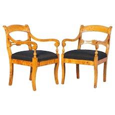 Pair of Antique 19th Century Swedish Birch Arm Chairs, circa 1890