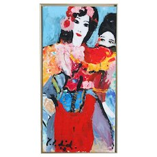 Vibrant Contemporary Acrylic on Canvas Painting of Two Women, signed by Yrsa Isabel Lind