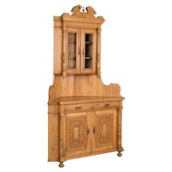 Antique Highly Carved Danish Pine Corner Cupboard, circa 1880