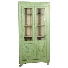 Antique 19th Century Original Painted Green Corner Cupboard, Sweden Circa 1880