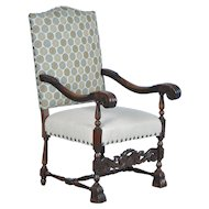 19th Century Antique Danish Baroque Carved Armchair w/New Contemporary Upholstery