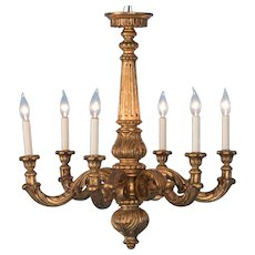 Antique 19th Century Danish Gilt Wood Chandelier