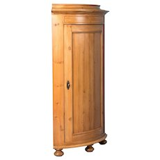 Antique 19th Century Danish Pine Corner Cabinet
