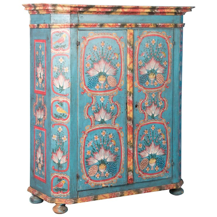 19th Century Antique German Double Door Armoire With Original Paint - 19th Century Antique German Double Door Armoire With Original Paint