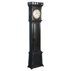 Antique 19th Century Danish Grandfather Clock Painted Black