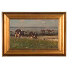 Original Seascape Oil Painting With Cows by Gunnar Bundgaard