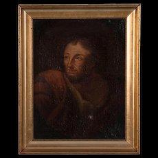 Antique 19th Century Italian School Oil on Canvas Portrait of a Man