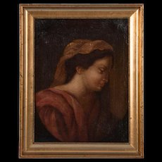 Antique 19th Century Italian School Oil on Canvas Portrait of a Robed Woman