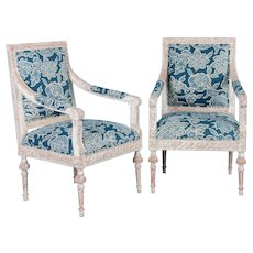 Pair of Antique White Painted Gustavian Armchairs From Sweden