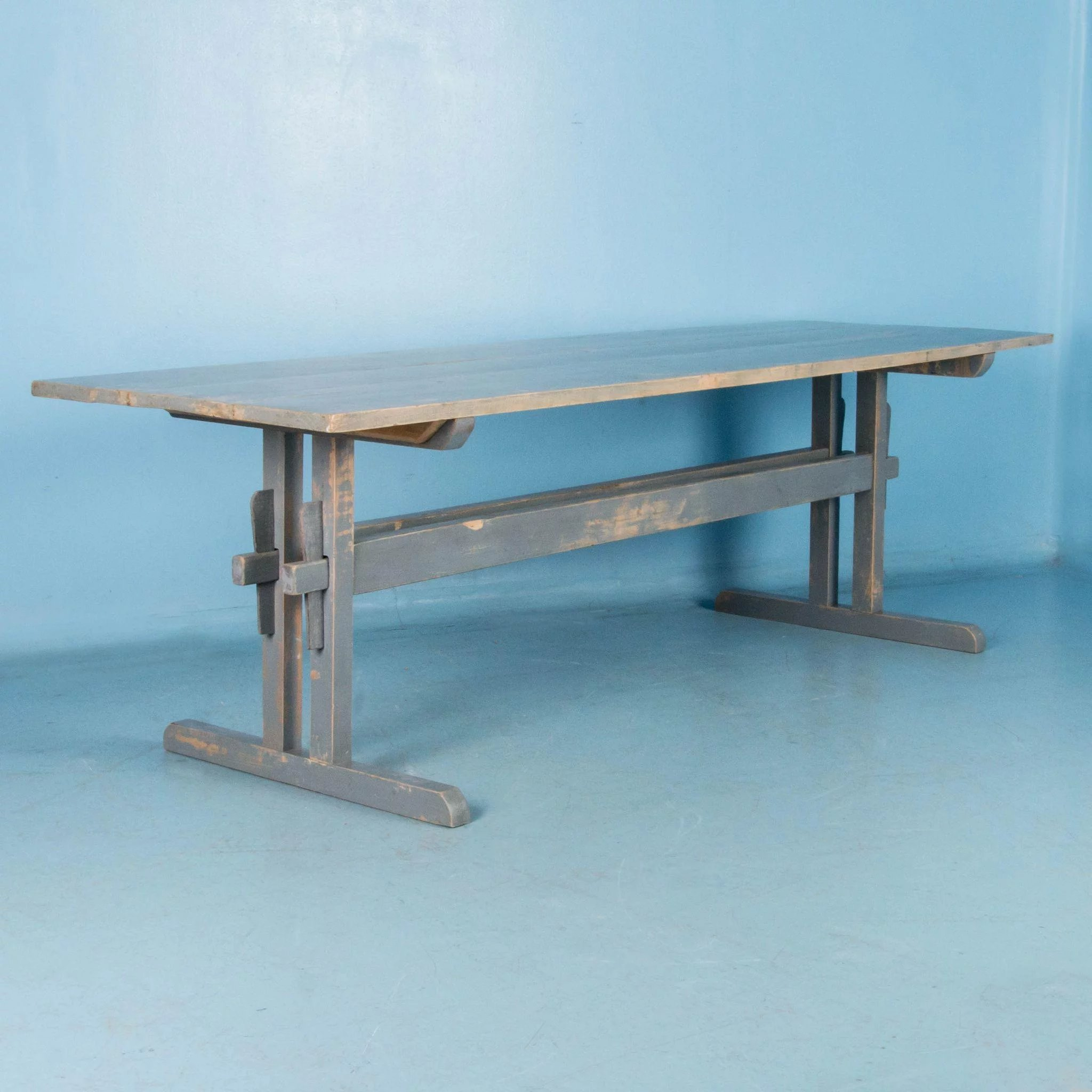 Long antique country pine trestle table with original gray for Transmutation table 85 items