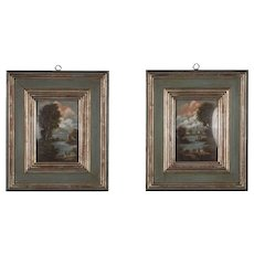 Pair of Small Vintage Italian Landscape Oil Paintings
