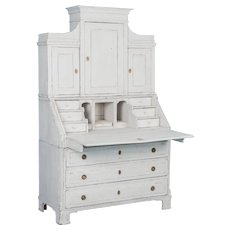 Graceful Swedish Antique Secretary with White Chalk Paint