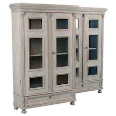 Rare Pair of Gustavian Gray Painted Antique Bookcases