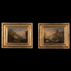 Pair of Small Antique Oil on Canvas Landscapes by Ch. Dietrich