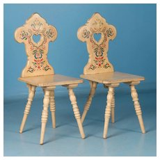 Set of Four Antique Folk Art Yellow Painted Side Chairs