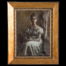 Portrait of a Seated Woman in White, Original Oil on Canvas by Carl Thomsen