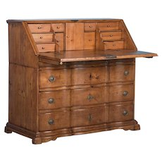 Antique Danish Baroque Drop Front Bureau Secretary, circa 1770