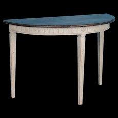 Antique Swedish Gustavian Demilune Side Table